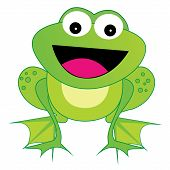 pic of cute frog  - Cute happy laughing frog illustration isolated on white background - JPG