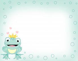 stock photo of cute frog  - Cute frog prince border  - JPG