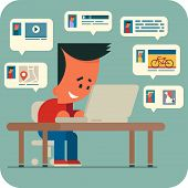 image of video chat  - Cartoon young man sitting at a table and chatting online with friends using laptop - JPG