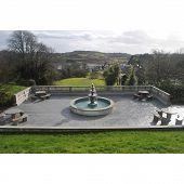 stock photo of na  - Fountain the the garden of the Abbeyglen Castle. Ireland Fonte na frente do hotel Abbeyglen, Irlanda. - JPG