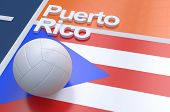 stock photo of volleyball  - Flag of Puerto Rico with championship volleyball ball on volleyball court - JPG