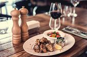 image of ribs  - Grilled pork ribs with salad - JPG