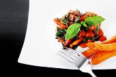 stock photo of soy sauce  - vegetable salad  - JPG