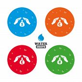pic of yen  - Water drops on button - JPG
