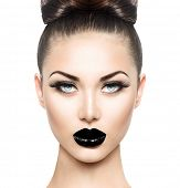 foto of  lips  - High Fashion Beauty Model Girl with Black Make up and Long Lushes - JPG