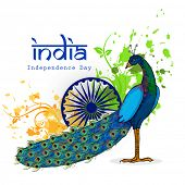 stock photo of indian independence day  - Indian national bird Peacock with Ashoka Wheel on saffron and green colors floral pattern background for Independence Day celebration - JPG