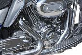 stock photo of crotch-rocket  - Side view of a custom motorcycle engine - JPG