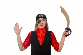 stock photo of pirate sword  - Pretty pirate girl holding sword isolated on white - JPG