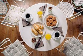 foto of continental food  - Top view of delicious and healthy breakfast with orange juice - JPG