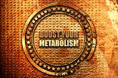 boost your metabolism, 3D rendering, grunge metal stamp poster