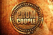 prom couple, 3D rendering, grunge metal stamp poster