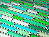 pic of paint palette  - fine image 3d of chrome tank with green paint background - JPG