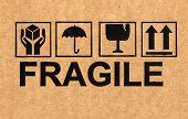 fine image close up of fragile symbol on cardboard