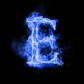 Fire letter E of burning blue flame. Flaming burn font or bonfire alphabet text with sizzling smoke  poster