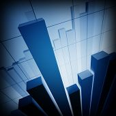 3d image of classic financial stat chart business graph background