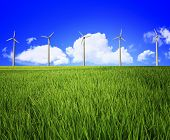 green grass field and blue cloudy sky background with power wind station