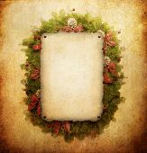 stock photo of christmas ornament  - Christmas wreath with paper sheet - JPG