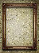 golden frame on grunge background