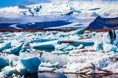 Drift ice Ice Lagoon - Jokulsarlon. Morning light in the Ice Lagoon. Icebergs and ice floes are refl poster