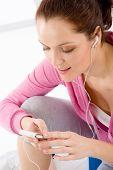 Fitness - Woman Listen Music Mp3 Relax