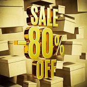 Gold 80 Percent Off Discount 3d Sign with Packaging Boxes Sale Banner Template, Special Offer 80% Of poster