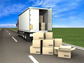 picture of delivery-truck  - Transpotatoin - JPG