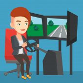 Young caucasian woman playing video game with gaming wheel. Happy smiling gamer driving autosimulato poster