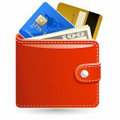 Leather wallets with money and credit cards