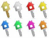 House metallic keys. Icon set. Concept of real estate