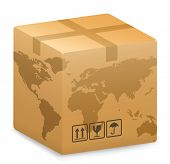 picture of world-globe  - Vector illustration of Shipping Box with World Globe Map - JPG