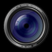 A camera lens vector illustration with realistic reflections on black background
