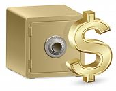 An Illustration of Strongbox with a Combination Lock and Dollar Sign.