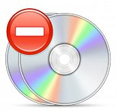 Stop piracy. Software disc and stop sign.