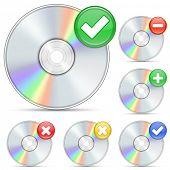 CD and DVD icons. Software disks and signs.