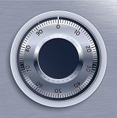 Blue Toned Strongbox Lock. Vector Illustration.