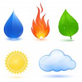 Highly detailed vector illustration of nature symbols.  Blue water drop, red fire, green leaf, sun and cloud.
