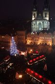 Staromestske (oldtown) square - christmas night-shot