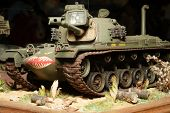 American tank - plastic model 1:72 scale - extremely closeup