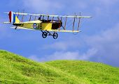 Historic plane above spring meadows - marking is fictive