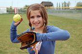 Softball Girl Smiles At The Camera