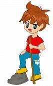 Cute Cartoon Boy Hiking poster
