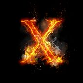 Fire letter X of burning flame. Flaming burn font or bonfire alphabet text with sizzling smoke and f poster