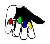dibujo de la mano con uñas multicolor vectorial