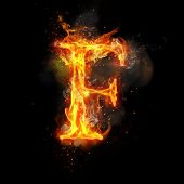 Fire letter F of burning flame. Flaming burn font or bonfire alphabet text with sizzling smoke and f poster