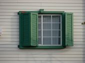 Window Green Shutters