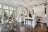 Kitchen in luxury home with white cabinetry. poster