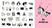 Scandinavian style, simple design, clean and cute black, white illustrations, collection of children poster