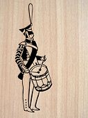 vector illustration of the drummer on wood background