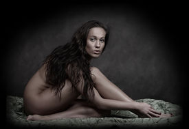 image of striper  -  Classical artistic nudity style picture of woman sitting on green brocade background - JPG