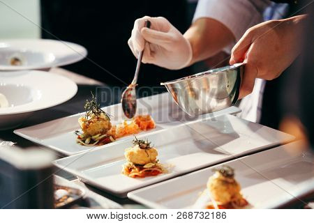 poster of Chef Preparing Food, Meal, In The Kitchen, Chef Cooking, Chef Decorating Dish, Closeup, Chef At Work